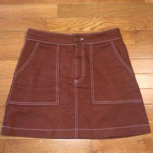 Zara denim mini brown skirt
